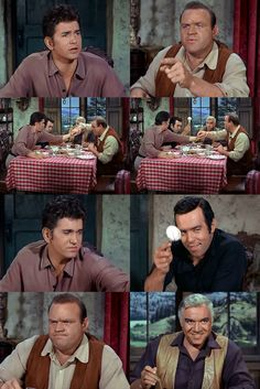 """Hoss announces that he is going to steal the last """"spud"""" from the platter at the center of the table. Little Joe protests, and while he and Hoss are wrassling over it, Adam adroitly snatches it out from under them. From A Woman Lost (Bonanza)"""