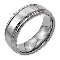 Titanium Grooved Edge 8mm Polished Band. Available at PAVÉ Jewelry & Design Studio. www.pavemv.com