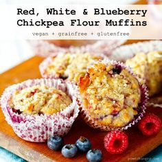 Red White & Blueberry Muffins {vegan+grain-free+gluten-free} Made with chickpea flour and coconut flour.