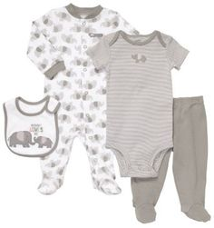 Gray Elephant baby clothing set