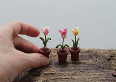 Miniature crochet flowers tulips miniature tulips by FancyKnittles