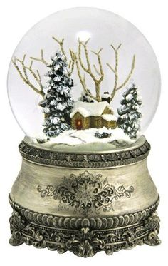 Antique Silver Snow Globe - Pinner said, This was the first in my collection and still my favorite