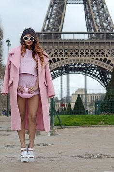 Pastels in street style Blogger Kavita from She Wears Fashion with her Lulu pink lips clutch #pastels #paris #eiffeltower #luluguiness
