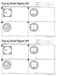Free area of shaded regions of circles worksheet circle math, circle geometry, area circle Geometry Lessons, Teaching Geometry, Geometry Worksheets, Geometry Activities, Math Lessons, Teaching Math, Maths, Math Tips, Math Fractions