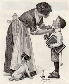 1919 J C Leyendecker 'First Day of School' appears to be a cover Illustration (? Vintage Illustration, American Illustration, Images Vintage, Vintage Art, Vintage Stamps, Figure Drawing, Painting & Drawing, Drawing Sketches, Art Drawings