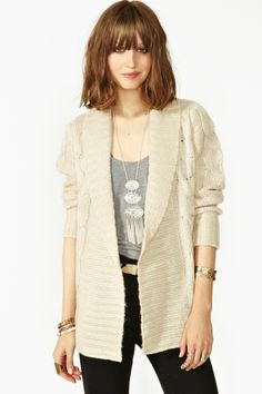 Cable Knit Cardi and bangs...I know it's a mistake but I want them.