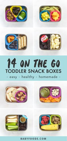 14 On-The-Go Toddler Snacks that are easy healthy and delicious! If you have a toddler and need some snack ideas look no further. These 14 snack box ideas are perfect for lunch travel road trips and more! Kids Snack Box, Snack Boxes Healthy, Healthy Travel Snacks, Healthy Toddler Snacks, Toddler Meals, Healthy Kids, Kids Meals, Toddler Food, Healthy Lunches