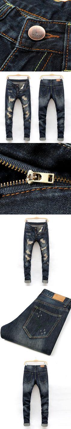 2017 New Desinger Men Jeans High Quality Straight Slim Fit Ripped Jeans For Men Casual Full Length Pants Fashion Brand Jeans Slim Fit Ripped Jeans, High Jeans, Best White Jeans, Fashion Pants, Mens Fashion, Buy Jeans, Slim Man, Jeans Brands, Fashion Brand