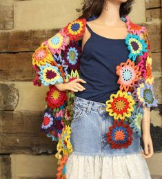 Crochet Shawl Boho Gypsy Wrap Colorful Hippie by Sweetbriers