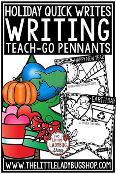 You will Love using these 12 Quick Holiday Writing Prompts Teach- Go Pennants™ to celebrate each holiday throughout the school year! Writing for New Years, Thanksgiving, Earth Day, Christmas and more. Writing Prompts perfect for 2nd grade, 3rd grade and home schooling. #holidaywritingprompts #quickwrites #holidayactivities #holidaybulletinboard