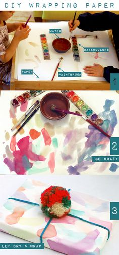 DIY: Painted Watercolor Wrapping Paper