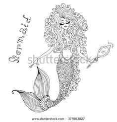 Vector hand drawnillustration of a fairy mermaid, holding a mirror in hand. Decorative tracery mermaid tail  with wavy long hair. Original hand drawn inscription mermaid. On a white background