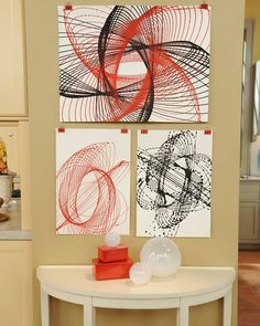 I'm sure I can incorporate this into a math lesson somehow.  Pendulum painting from Martha Stewart crafts.
