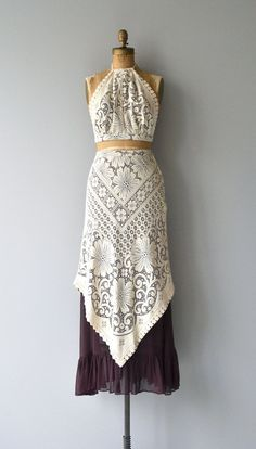 Amazing 1970s three-piece set - cotton lace cropped halter with chocolate brown cotton/poly voile lining (tie back and tie neck), cream lace maxi