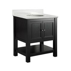"""Gazette 31 inch bathroom vanity combo, countertop and undermount sink included.  Espresso finish, carrara marble top (although I have yet to find out if that's real marble).  599$ at Home Depot.  This one has 8"""" spread for taps, so the faucet will be a little extra money."""