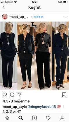 Classic black is back....oh wait, it's never gone away Stylish Outfits For Women Over 50, Stylish Work Outfits, Classy Outfits, Chic Outfits, Fall Outfits, Fashion Outfits, Clothes For Women, 60 Fashion, Fashion Over 50