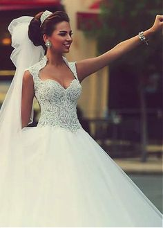 Wedding Dresses Ball Gown, Eye-catching Tulle & Satin Queen Anne Neckline Ball Gown Wedding Dresses With Embroidery & Beadings DressilyMe Country Wedding Dresses, Best Wedding Dresses, Perfect Wedding Dress, Bridal Dresses, Wedding Gowns, Hair Wedding, Wedding Styles, Bridesmaid Gowns, Modest Wedding