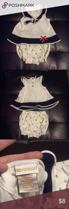 Nautical baby outfit Adorable little sailor two piece outfit. Size 0-3 month. Little anchors all over the bottoms. ⚓️ Matching Sets