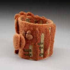Felted Fiber Art Wrist Cuff by Lisa Klakulak /; Fiber Art Jewelry, Textile Jewelry, Fabric Jewelry, Jewelry Art, Felted Jewelry, Jewellery, Jewelry Ideas, Nuno Felting, Needle Felting