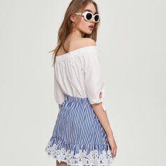 Sinsay spódnice Off Shoulder Blouse, Women, Fashion, Moda, Fashion Styles, Fashion Illustrations, Woman
