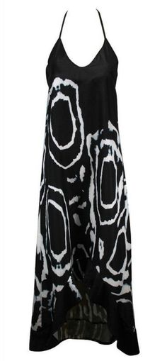 Don't hold back your love for this gorgeous Gentle Winds maxi! It features a beautiful black and white pattern with an open halter tie back neck and irregular hem. http://TheChicFind.com