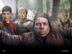 Grettir (Warwick Davis), The Fisher King (Donald Sumpter) with Merlin and Arthur in The Eye of the Phoenix