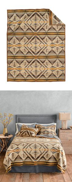 Can't get enough of the desert motif? We've located a simply stunning bed cover. The Santa Fe Blanket delivers a mouth-watering Southwestern print in a virgin wool and cotton blend, bringing warmth, du... Find the Santa Fe Blanket by Pendleton, as seen in the The Amado Collection at http://dotandbo.com/collections/the-amado?utm_source=pinterest&utm_medium=organic&db_sku=114711