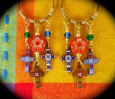 Corazon y Alma ~ Heart and soul earrings with wrapped hoops and vintage enameled crosses by qisma @ Etsy