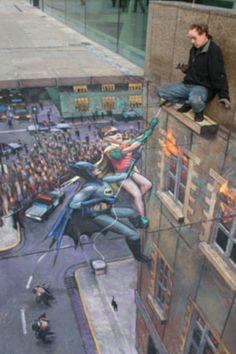 Batman and Robin Chalk art