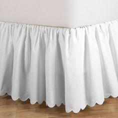 """18"""" Full White Brittany Schiffli Scalloped Bed Skirt"""