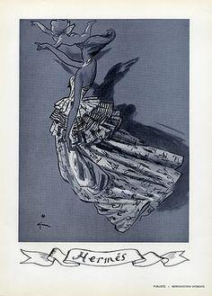 Hermès (Couture) 1946 Back Germaine Lecomte Evening Gown, René Gruau, Fashion Illustration