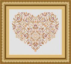 Yellow heart cross stitch pattern on Etsy.com - LudivinePointDeCroix, $4.65