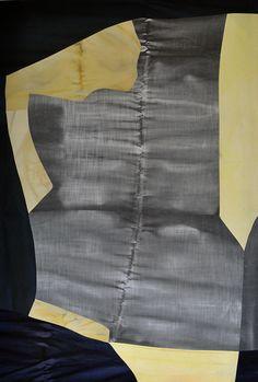 "colleen heslin, Backbone, ink and dye on cotton, 72x48"", 2015"