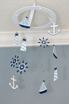 Nautical Nursery Mobile Custom Wooden Painted Sailboat Anchor Lighthouse Wheel Beach Theme Whimsical Boat Decor Baby Shower Gift Ocean Fish by FlutterBunnyBoutique