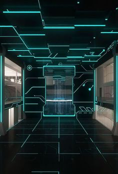 Cool Tron Design for a Gym Laser Tag, Futuristic Interior, Futuristic Lighting, Futuristic Shoes, Futuristic Furniture, Interior Architecture, Interior Design, Gymnasium Architecture, Tron Legacy