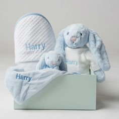 Personalised Hooded Waffle Towel and Snuggles Gift Set - Blue - Lovingly Signed Baby Hamper, Online Gift Shop, Personalized Baby Gifts, Baby Gift Sets, Blue Gingham, Cotton Towels, Beautiful Gift Boxes, Baby Essentials, Bath Time