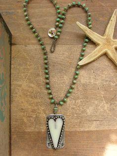 Boho crochet necklace rustic heart pendant by 3DivasStudio on Etsy