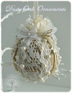 **Burlap and lace christmas tree ornament -- hmmmm, for my taste, dump the burlap and use a nice fabric, subtle or contrasting, underneath Lace Christmas Tree, Shabby Chic Christmas, Noel Christmas, Victorian Christmas, Christmas Baubles, Homemade Christmas, Rustic Christmas, Burlap Crafts, Xmas Crafts