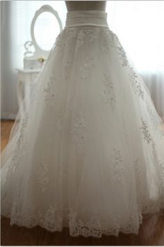 Detachable lace tulle Wedding Dress Skirt with Train Full Length skirt. $119.00, via Etsy.