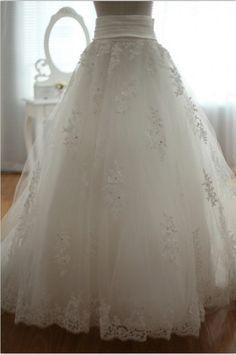 Detachable lace tulle Wedding Dress Skirt with Train Full Length skirt. $119.00, via Etsy.