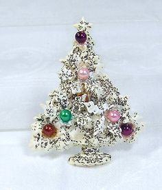 Vintage Acyrlic Brooch Christmas Tree White Green by blisstiques, $7.99