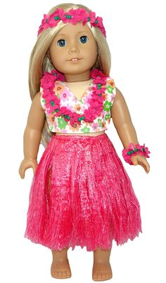 This 6 piece set includes a floral top and pants (just like a bikini), lovely pink grass skirt, flower headband, floral lei and flower anklet or bracelet if you prefer.  The top fastens at the back with a Velcro strip, the pants simply slip on with an elastic waist and the grass skirt ties at the back.