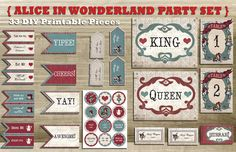 33 Piece Vintage Alice in Wonderland INSTANT DOWNLOAD DIY Wedding & Party Printable Decor (Red White Blue)