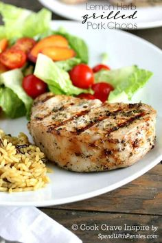 These are my favorite pork chops! A simple marinade makes these Lemon Herb grilled pork chops wonderfully tender with a citrusy flavor! We love to serve these with salad and rice for a delicious light meal! Grilled Vegetable Skewers, Yogurt Marinated Chicken, Marinated Pork Chops, Pork Marinade, Pork Rib Recipes, Grilling Recipes, Meat Recipes, Cooking Recipes, Healthy Recipes