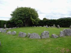 Aviemore circle by vip223 About 4000 years old (2400 BCE), Scotland, Aviemore, now found amidst a modern housing development. What you see is the stone circle, the smaller ring cairn in the middle is buried under the soil for protection.