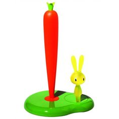 Alessi - ASG42 - Bunny and Carrot kitchen roll holder in thermoplastic resin. Design by Stefano Giovannoni.
