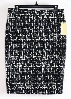 NWT Michael Kors Black Printed Pencil Skirt 8 #MichaelKors #Unavailable