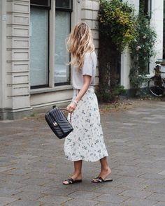 t-shirt, skirt, sandals