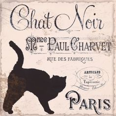 Chat Noir, Black Cat Vintage Paris Poster