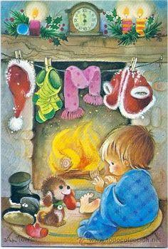 Salmons Printable Christmas Cards, Vintage Christmas Cards, Retro Christmas, Christmas Holidays, Christmas Hearts, Christmas Scenes, Vintage Greeting Cards, Vintage Postcards, Christmas Graphics
